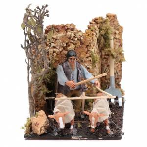 Belén napolitano: Granjero en movimiento con arado pesebre napolitano 8 cm