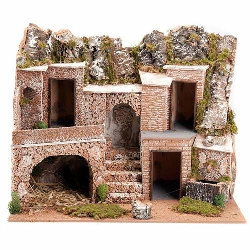 Grotta presepe borgo, fontana e scaletta 60X40X50 1