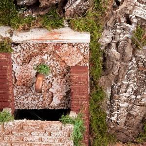 Krippe Hütten und Grotten: Grotte fuer Krippe Brunnen und Ortschaft 60x40x50