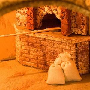 Krippe Hütten und Grotten: Grotte fuer Krippe mit Brunnen und Lichten 80x70x60