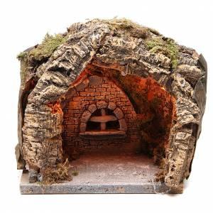 Grotte illuminée crèche napolitaine 20x20x18 cm liège s1