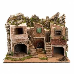 Krippe Hütten und Grotten: Grotte Krippe mit Brunnen und Lichten 80x70x60