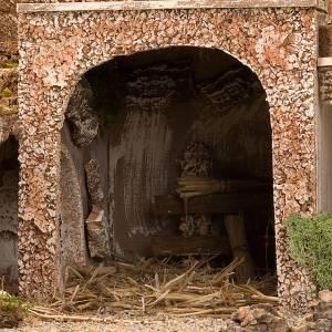 grotte pour crèche, fontaine et village illuminé, s6