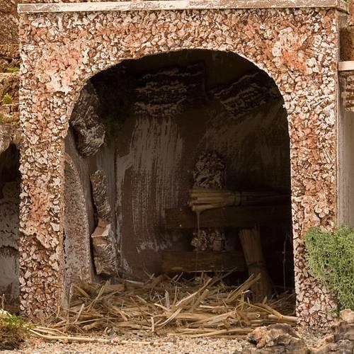 grotte pour crèche, fontaine et village illuminé, 6