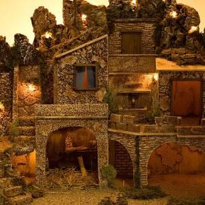 grotte pour crèche, fontaine et village illuminé, s3