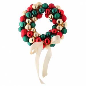 Bolas de Navidad: Guirnalda de Bolitas de vidrio rojo, oro y verde 30 cm