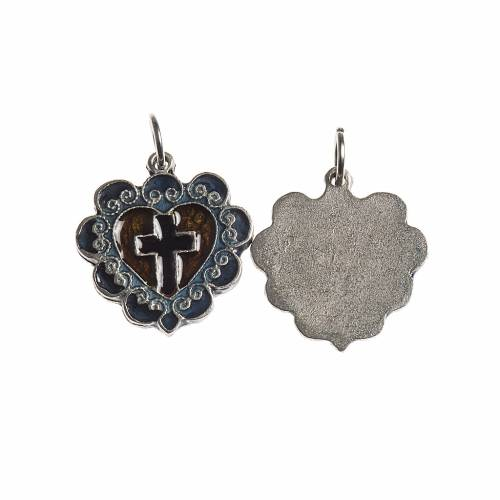 Heart cross medal, 17mm galvanic antique silver with enamel s1