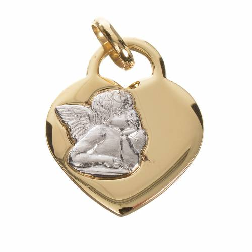 Heart pendant with angel in 750 yellow gold 2.07gr s1