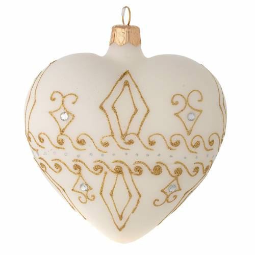 Heart Shaped Bauble in beige blown glass with gold decorations 100mm s1