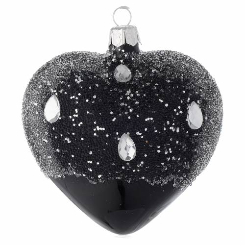 Heart Shaped Bauble in black blown glass with glitters 100mm s2