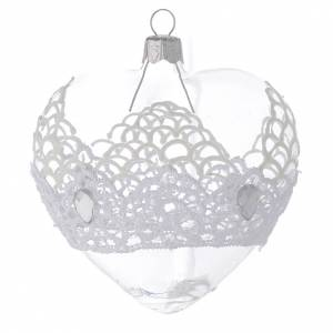 Heart Shaped Bauble in blown glass with lace decoration 100mm s2