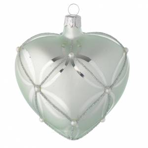 Christmas balls: Heart Shaped Bauble in sage green blown glass with pearls 100mm