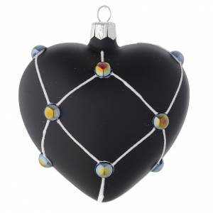 Christmas balls: Heart Shaped Bauble in satin black blown glass with stones 100mm