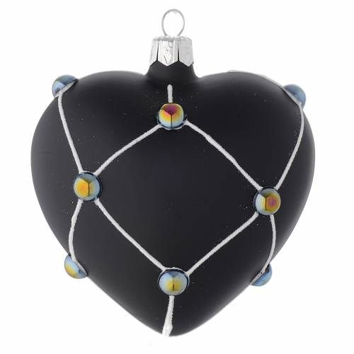 Heart Shaped Bauble in satin black blown glass with stones 100mm s1