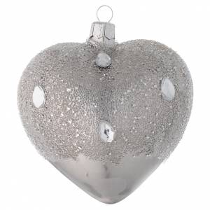 Heart Shaped Bauble in silver blown glass with ice effect decoration 100mm s1