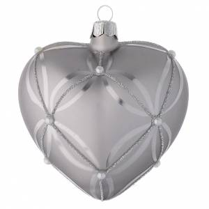 Christmas balls: Heart Shaped Bauble in silver blown glass with shiny and opaque decoration 100mm