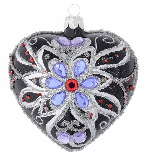 Heart shaped Christmas bauble in blown glass with floral silver and black decoration 100mm s1