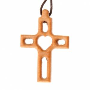 Wooden cross pendants: Heart-shaped fretwork cross