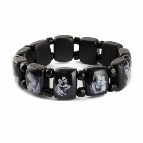 Holy bracelet Virgin Mary Jesus Saints images, black s7