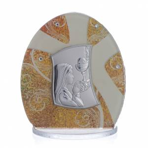 Bonbonnière: Holy Communion Favour in silver foil with young girl 8.5cm