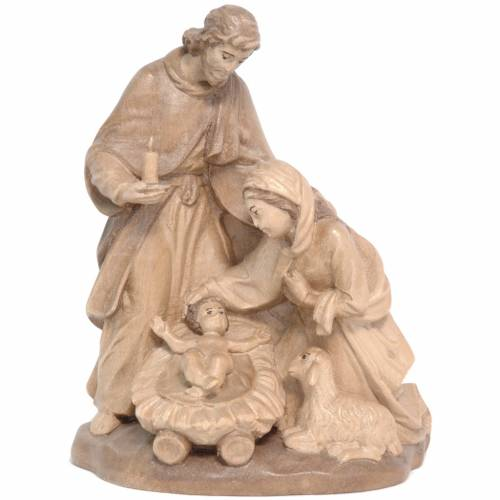 Holy Family with sheep in Valgardena wood, multi-patinated s1