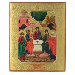 Hand-painted Russian icons on antique wood: Holy Trinity antique icon, restored 24x18cm XX century