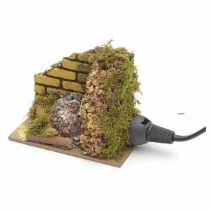Krippe Öfen und Lagerfeuer: Holzkohlengrill mit Lampe 10x6cm