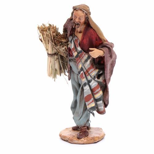 Hombre con haz de paja Belén 13 cm Angela Tripi terracota s2