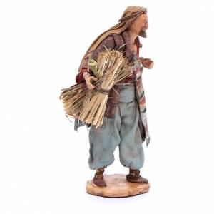 Hombre con haz de paja Belén 13 cm Angela Tripi terracota s4