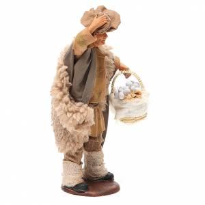 Homme avec chapeau et panier ail 14 cm crèche napolitaine s4