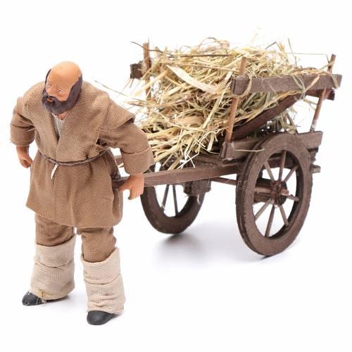 Homme avec charrette de foin 12 cm crèche napolitaine s1