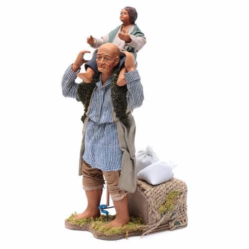 Homme avec enfant sur épaules 24 cm crèche napolitaine s2
