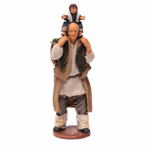 Homme avec enfant sur les épaules crèche 14 cm s5