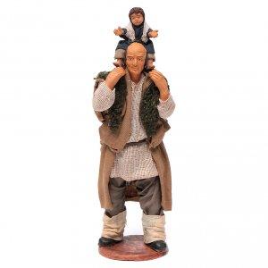 Homme avec enfant sur les épaules crèche 14 cm s1