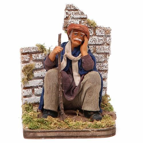 Homme pensif assis 12 cm crèche napolitaine s1