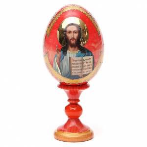 Huevos rusos pintados: Huevo ruso de madera découpage Pantocrator fondo rojo estilo Fabergé altura total 13 cm