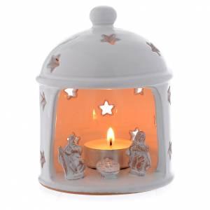 Terracotta Nativity Scene figurines from Deruta: Hut shaped drilled candle in terracotta from Deruta sized 13 cm