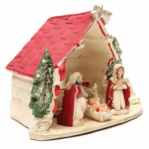 Hut with Nativity red decoration 20x14x18cm s3
