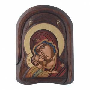 Icona bassorilievo primo piano della Vergine Vladimir 25x15 cm s1