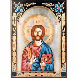 Icona Cristo Pantocratico decori colorati s1