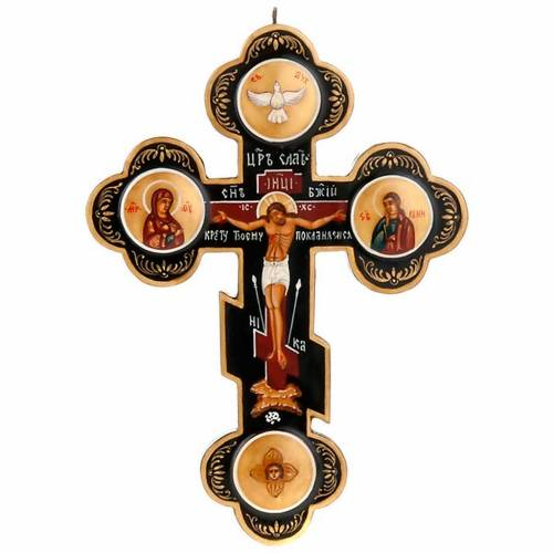 Icona Croce trilobata russa nera s1