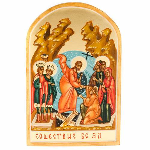 Icona russa Discesa agli inferi 6x9 dipinta a mano s1