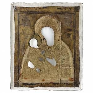 Icona russa antica Madonna di Tichvin 35x30 cm s4