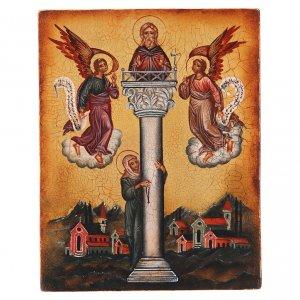Icone Russia dipinte: Icona russa San Giovanni sulla colonna 14x10 cm