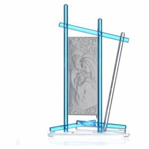 Bomboniere e ricordini: Icona Sacra Famiglia vetro Murano Acquamarina 24x15 cm