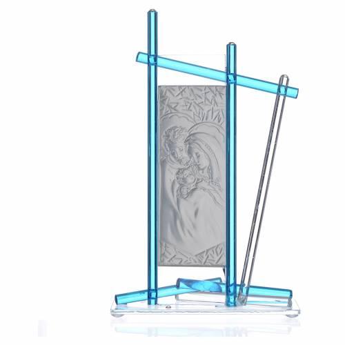 Icona Sacra Famiglia vetro Murano Acquamarina 24x15 cm s2