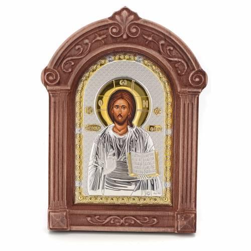 Icona serigrafata Cristo cornice legno s1