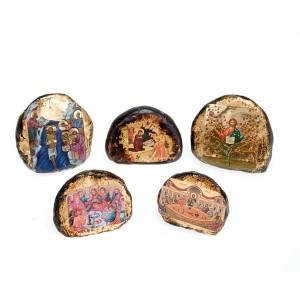 Icone stampa legno e pietra: Icona stampata terracotta scene