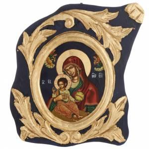Icona Vergine Glikofilussa Grecia serigrafata e dipinta s1