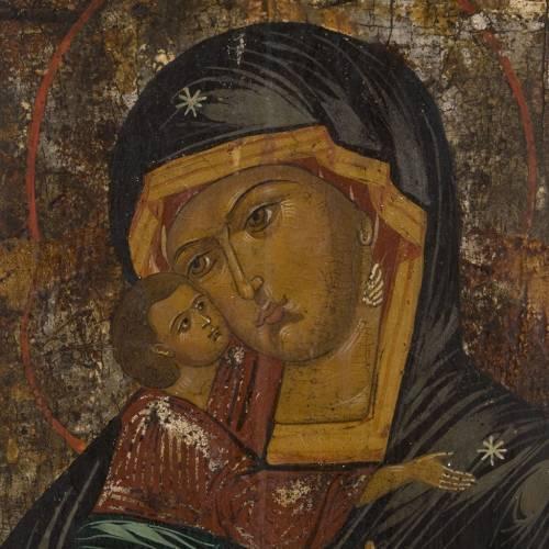 Icône ancienne Vierge de la Tendresse Vladimir XIX siècle s2